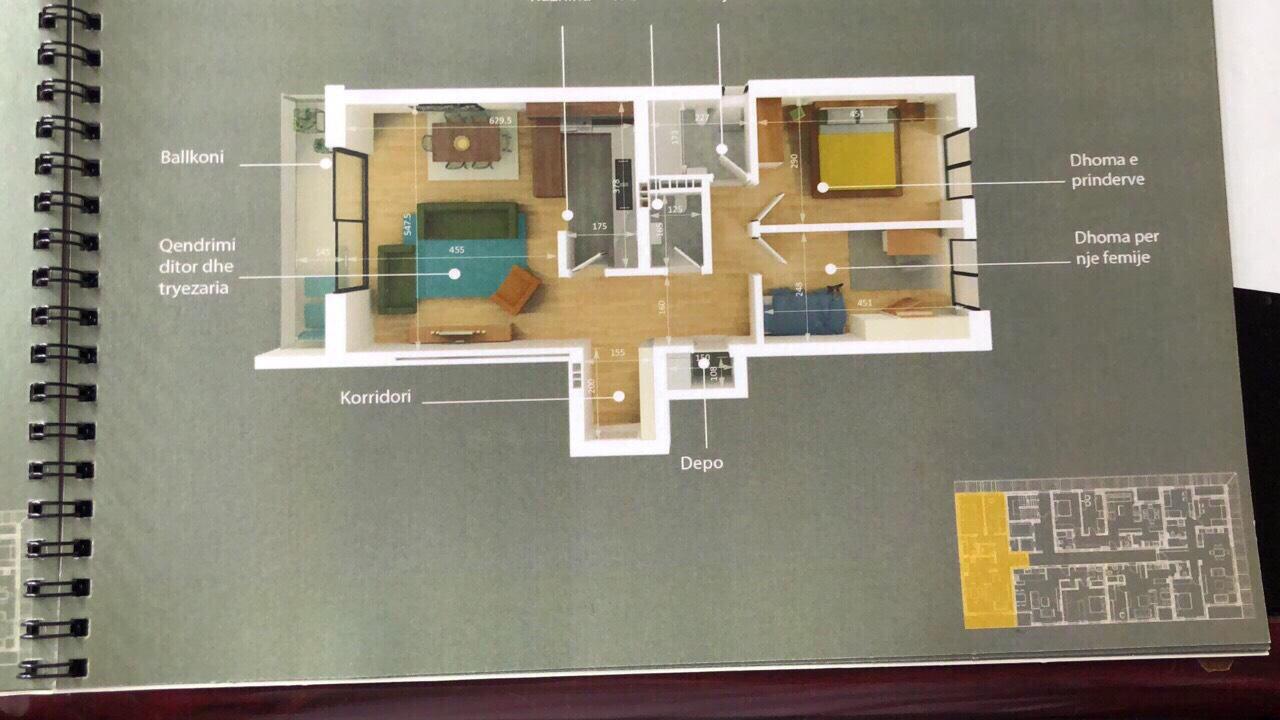 Shitet banesa 3 dhomëshe 98 m2 kati 2 në Veterrnik