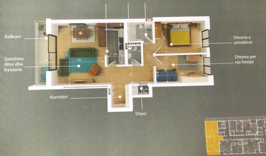 Shitet banesa 3 dhomshe 98m2 kati 2 Emshir-Kalabri