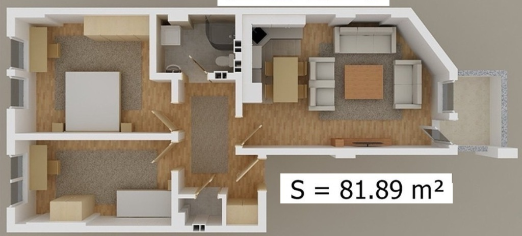 Shitet banesa 3 dhomshe 82m2 kati 2 Fush Kosove