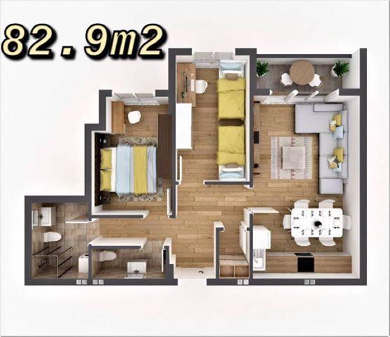 Shitet banesa 3 dhomëshe 82.9m2 kati 4 në Fushë Kosovë