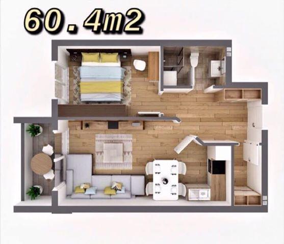 Shitet banesa 2 dhomëshe 60.4m2 kati 6 në Fushë Kosovë