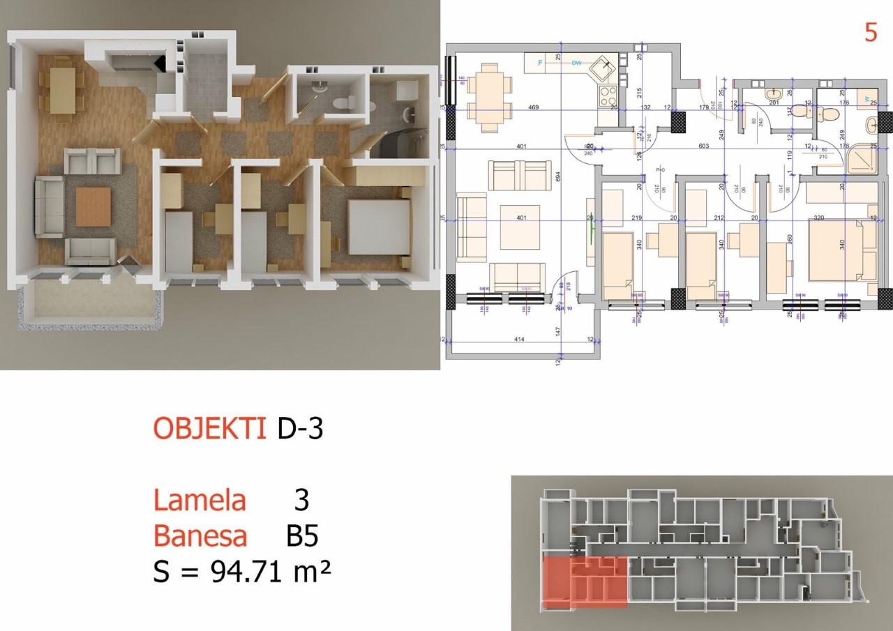 Shitet banesa 3 dhomshe 95m2 kati 4 Fushë Kosovë
